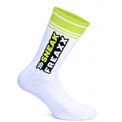 Sneak Freaxx Big Stripe Yellow Neon Socks White One Size (T7644)