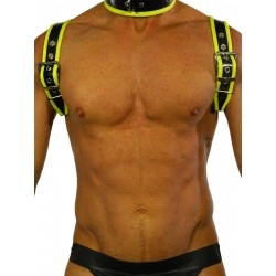 RudeRider Shoulder Backstrap Harness Leather Black/Yellow (T7309)