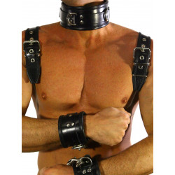 RudeRider Shoulder Backstrap Harness Leather Black/Black (T7308)