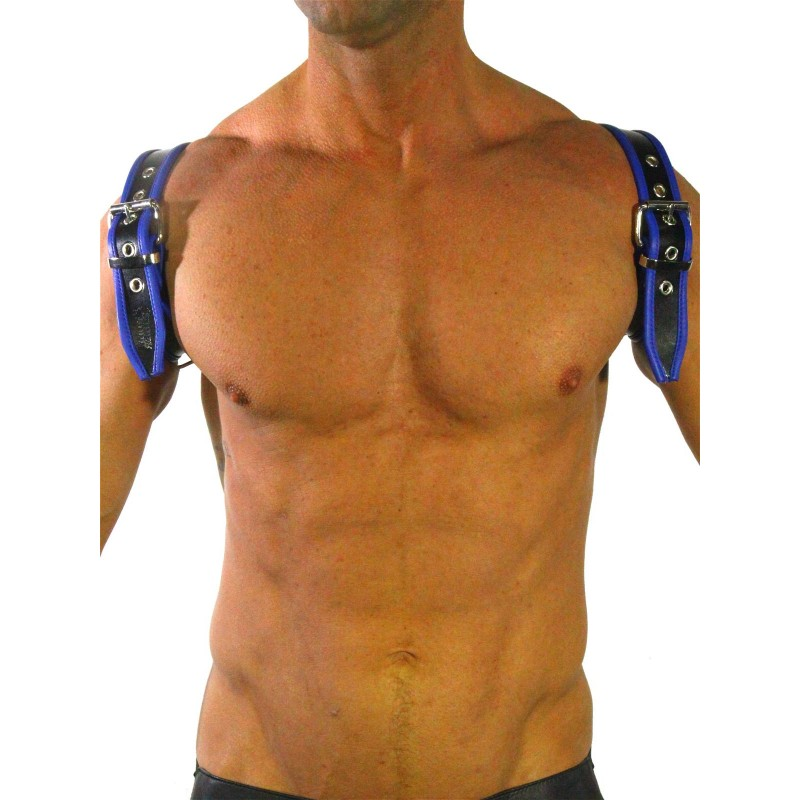 RudeRider Shoulder Backstrap Harness Leather Black/Blue (T7310)