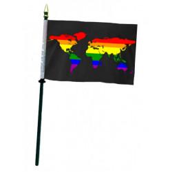 Rainbow World Black Hand Flag / Handflagge (T7773)