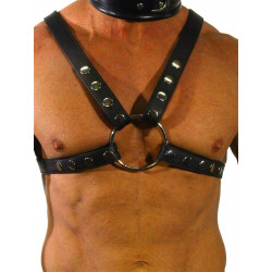 RudeRider Neck & Abs Harness w. Snap Buttons Harness Leather Black One Size (T7313)