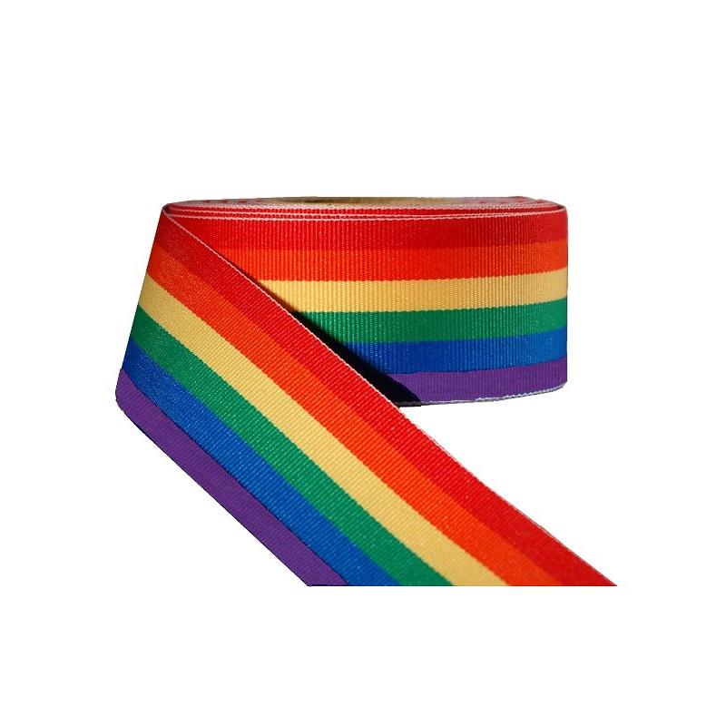 Rainbow Stripe Ribbon 1 1/2inch / 38mm wide 100m (T1539)