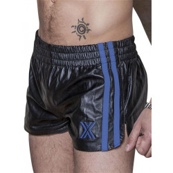 BoXer Leather Sports Shorts Black/Blue Stripes (T5391)